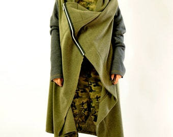 Wool military jacket/Autumn loose jacket/Long wool warm jacket/Woman maxi jacket/Handmade asymmetric green jacket/Long cotton sleeves/J0216