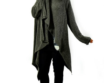 Winter Poncho/Italian Blended Wool/Woman Wool Cape/ Gray Jacket/ Italian wool poncho/ Poncho Blended Wool/Soft wool poncho/Jacket/A1247