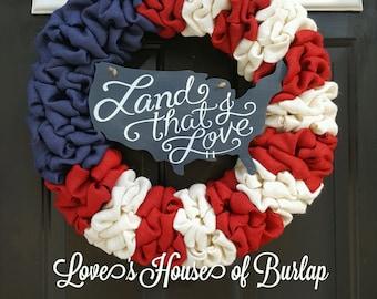 American flag wreath, Patriotic wreath, Red white blue wreath, Fourth of July wreath, Flag wreath, Memorial Day wreath, 4th of July wreath