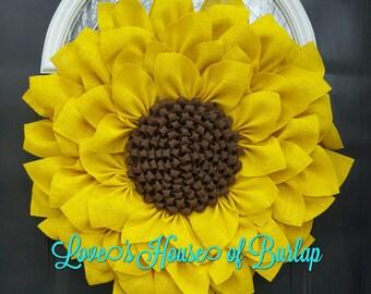 Sunflower wreath, Burlap sunflower wreath, Year round wreath, Everyday wreath, Spring wreath, Summer Wreath, Mother's Day, Fall wreath