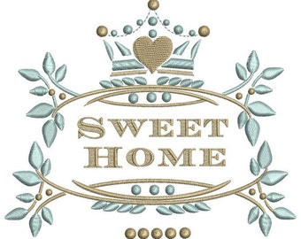 Sweet home arabesques crown embroidery design