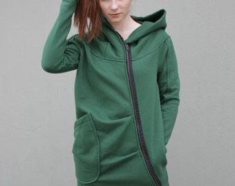 Women's Hoodie, Warm Hoodie, Cotton Coat, Asymmetrical Front Zipper, Hooded Coat, Handmade, Green Hoodie,Clothes Navaho,Handmade by Navaho