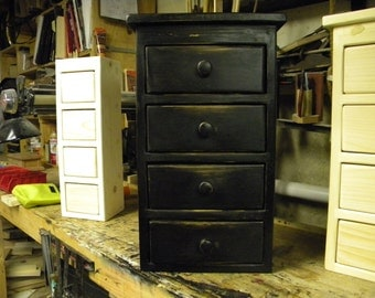 Small Four drawer black distressed wall hanging or freestanding apothecary cabinet