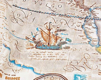 World Map Linen Cotton Fabric Vintage Voyage Navigation Sailing Boat Compass Clock Ocean Collection - 1/2 yard f014