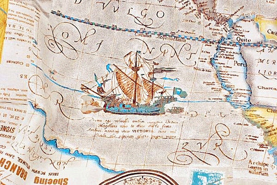 World map linen cotton fabric vintage voyage navigation sailing world map linen cotton fabric vintage voyage navigation sailing boat compass clock ocean collection 12 yard f014 from gideonstudio on etsy studio gumiabroncs Image collections