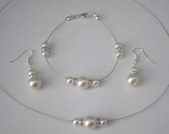 Pippa ~ Pearl Diamante Jewelery Set, Necklace Bracelet Earrings