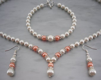 Catherine ~ Ivory and Coral Orange Pearl with Crystal Diamante spacers Necklace Bracelet & Earrings Jewellery Set (2dr)