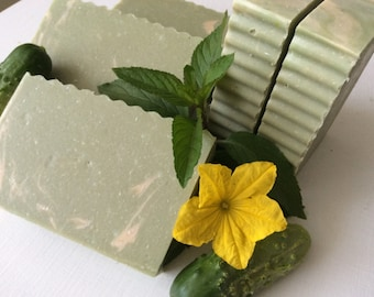 COOL CUCUMBER MINT Soap...With Hempseed Oil, Cocoa Butter, Aloe, Dairy Cream, White Clay, Garden Fresh Cucumbers, Refreshing, Moisturizing,