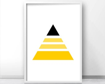 Geometric Print, Abstract Art, Modern Art Print, Yellow Wall Art Print, Digital Download Art, Black Yellow Decor, Triangle Print, Wall Print