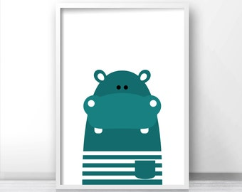 Printable Kids Wall Art, Modern Kids Art, Hippo Nursery Art, Animal Print For Nursery, Kids Print, Instant Download Printable Nursery Art