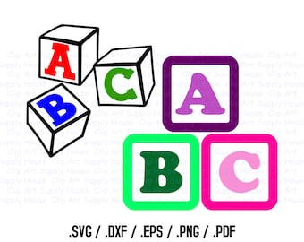 Baby Blocks SVG Clipart Files, Buliding Block Clipart Use With Silhouette Software, DXF File, SVG file, eps File, Silhouette, Cricut - CA264