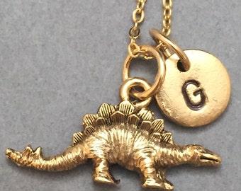 Stegosaurus necklace, stegosaurus charm, dinosaur charm, personalized necklace, initial necklace, initial charm, monogram, dinosaur charm