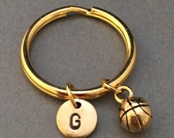 Basketball keychain, basketball charm, sports keychain, customized keychain, personalized keychain, initial charm, monogram, sports keychain