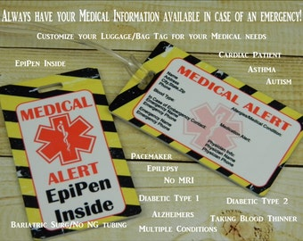 Medical Alert Luggage Bag Tag  Personalized With All Your Medical Information and Alerts. Medication Allergies Emergency