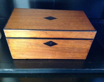 Victorian Wooden Tea Caddy Box with Black Inlay 1800s