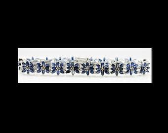 Sterling Silver & Sapphires 7.5 inch Bracelet 18.5 grams flower bracelet