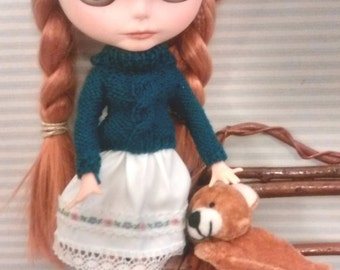 Blythe sweater knitting greenfinch and skirt