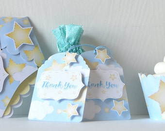 Cloudy Stars Tags: Blue sky with clouds hanging tag, party decor, baby shower, Birthday, baby boy or girl, hand drawn - LRD020TG