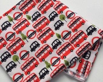 London buses XL flannel baby blanket  -anglophile   -baby  -infant  -red  -black   -UK