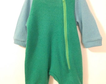 100% Cashmere Zip-Up Romper in Green and Blue, Size 0 - 3 months