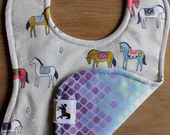 Delicate little horses, purple baby bib, organic cotton, washable bib