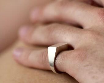 Sterling Silver Rectangle Plain Signet Ring
