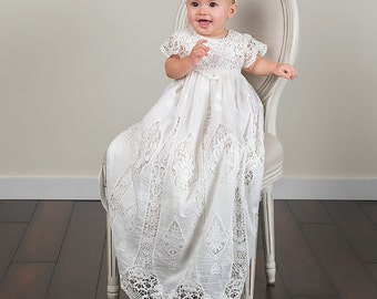 Newborn Christening Gown & Headband 'Grace', Girls Baptism Gown