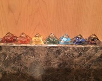 Item 7, Orgone Set, Orgone, Orgone Pyramid, 7 pyramids, Chakras, Chakra Stones, Chakra Stone, Reiki Stones, Reiki