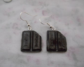 Dark chocolate bar earrings.
