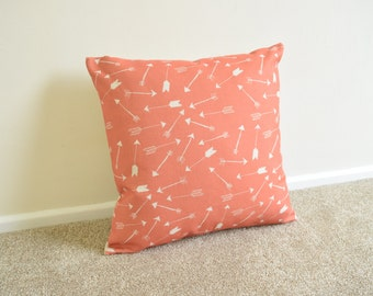 """Kilim/Aztec/Tribal Peach pattern in Cotton Linen Cushion/Pillow Cover in 18 x 18"""""""