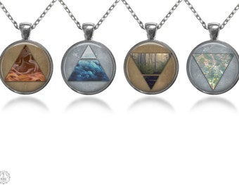 Four Elements Pendant Necklace Set. Four Elements Necklace, Air Water Earth Fire, Boho Jewelry, Nature Jewelry, Alchemy Jewelry