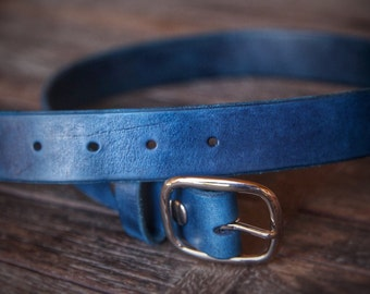 The Blue Leather Belt   Handmade in the U.S.A.