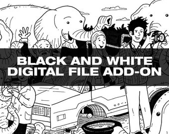 Black and White Digital Download Add-On for Drawing