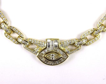 Fine Pave Cluster Diamond Fashion Link Collar Necklace 18K Yellow Gold 17.78Ct