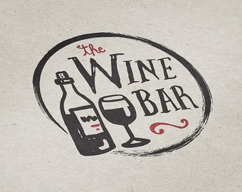 Premade Logo Design, Wine Bar Logo, Restaurant Logo, Eatery Logo, Premade Custom Logo Design, Lounge Logo, Handmade Logo, Drink Logo