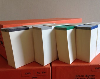 Old Library Card Catalog Index Cards, Vintage Card Catalog Paper, Old Index Cards, NOS card catalog cards