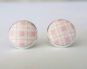 Pink and white check fabric button stud earrings.