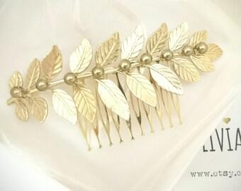 Laurel Leaf Hair Comb Gold Laurel Hair Comb Bridal Hair Comb Pearl Hair Comb Pearl Headpiece Bridal Headpiece Grecian Wedding Greek Hair