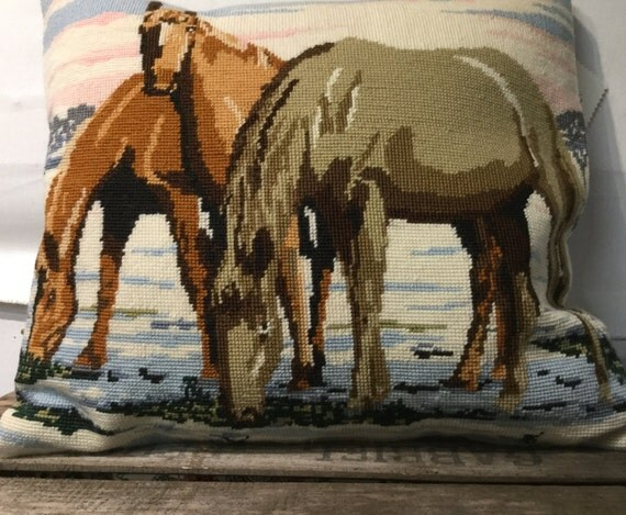 Horse needlepoint cushion, pillow, ponies, vintage, hand embroidered