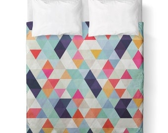 Duvet Cover - Colorful Triangle Geometric / Comforter cover/ king, queen, twin /bedding/ Pink, White, Teal, Purple, Orange
