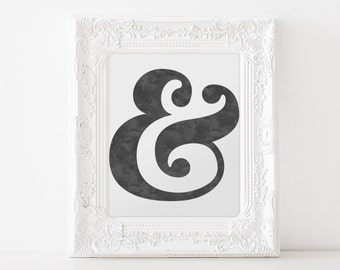 Ampersand Black Watercolor  - DIGITAL DOWNLOAD Print, 8x10, Ampersand Watercolor Black White Print, Home Decor, Instant Download, Blue