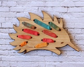 Australiana Embroidery Kit - Autumn / Fall Colourway - DIY Silk Ribbon Embroidery Echidna Kit - Stitch Your Own Variegated Brooch -