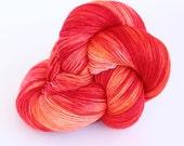 Hand Dyed Sock Yarn - Oakhampton 50/50 Merino Silk Sock Yarn - Blood Orange in Pinks, Corals & Orange