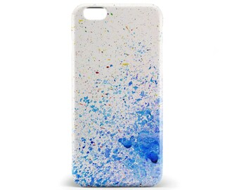 1367 // Blue and Purple Paint Splatters Phone Case iPhone 5/5S, 6/6S, 6+/6S+ Samsung Galaxy S5, S6, S6 Edge Plus, S7
