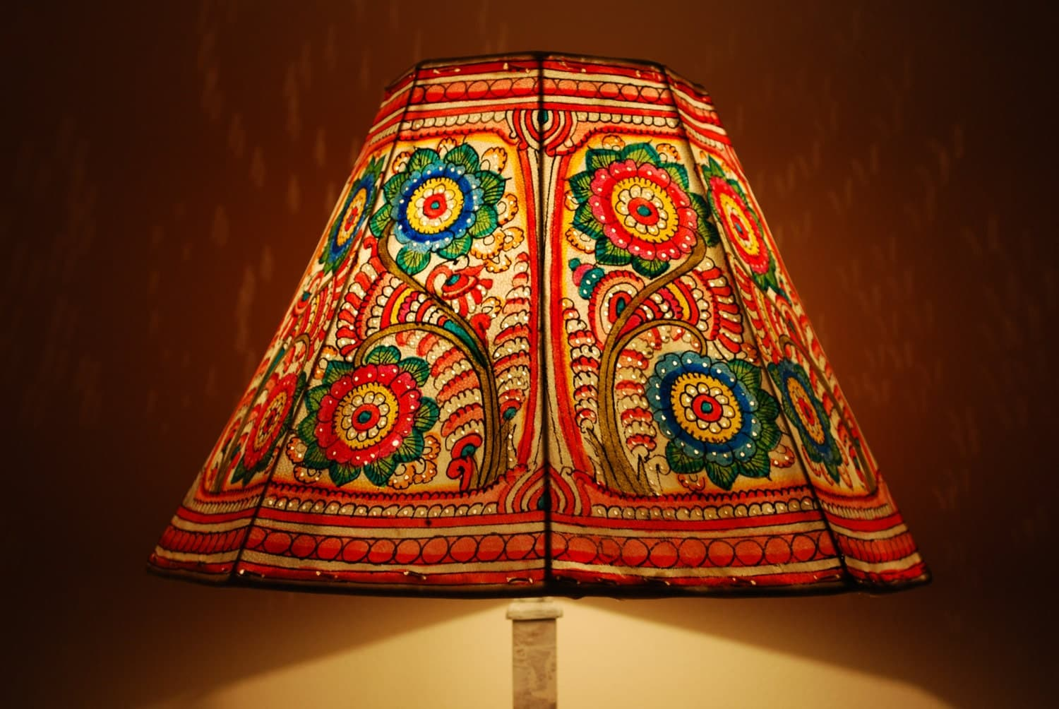 Floral Lamp Shade Hand Painted Leather Lamp Shade Floor