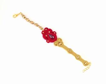 Golden bracelet, burgundy bracelet, red bracelet, crystal bracelet, soutache bracelet, boho bracelet, beaded bracelet, bohemian bracelet