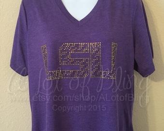 LSU Tiger Stripe Rhinestone T-Shirt
