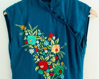 Cheong Sam Teal with Embroidery