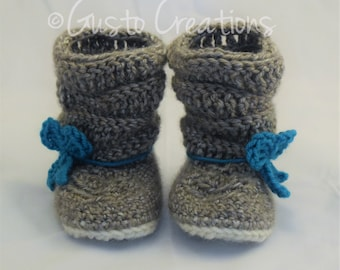 Crochet Baby Girl Boots, Slouch Baby Boots, Slouch Boots with Bow
