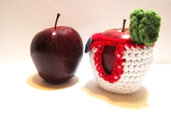 Crocheted Apple Cozy - Fruit Jacket - Handmade Fruit Cozy - Teacher Gift - Apple Jacket - Fruit Pouch - Back to School Gift - Apple Cosy